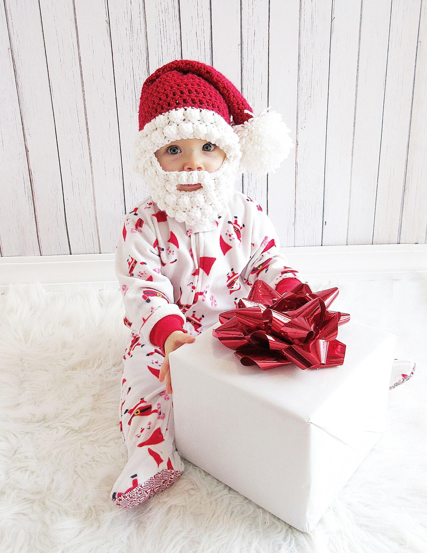 Santa Hat with Bobble Beard Newborn Santa Hat and Beard Baby  d265b422549