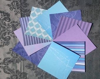 10 sheets of cardboard keys/leaves color purple/blue/white patterns