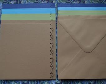 Set of 8 cards and envelopes paper 13x13cm metallic colors