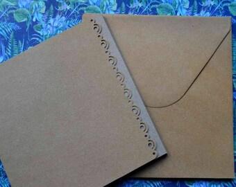 Set of 8 cards and envelopes 13x13cm kraft paper