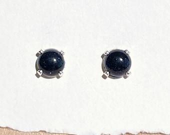 hypoallergenic hooks Deep blue earrings Long Blue Goldstone earrings Dark Blue Semi-precious Gemstones mounted on Sterling Silver 925