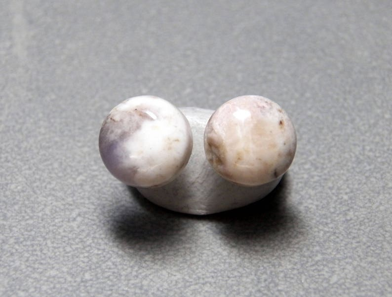 10mm Brazilian Agate Gemstone Post Earrings with Sterling Silver
