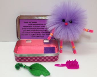 Travel Wee Doll, Weebie Pocket Pal, Car Toy, Travel Doll, Altoids Tin House with Wee Doll, Pocket Sized Doll, Miniature Toy, Miniature Doll