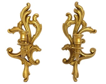 Hollywood Regency, Baroque, Rococo Wall Sconce Candle Holder Gold, Vintage, Ornate- Pair, Set of Two