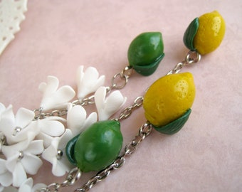 Lemon earrings Long statement earring White flowers Chains cluster earrings Citrus colors Dolce & Gabbana style Funny summer's foods jewelry