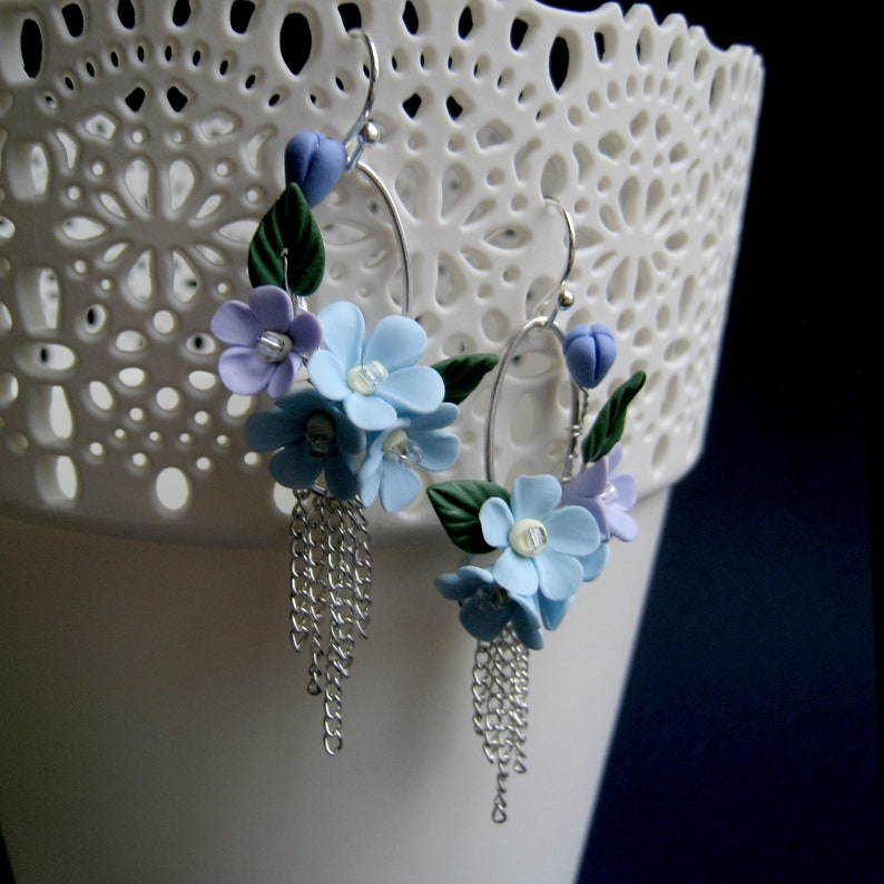 Oval chains earrings Blue Floral Forget me nots Polymer Clay Floral jewelry Blue Wedding Bride Bridesmaids Gifr Boho chains earrings jewelry