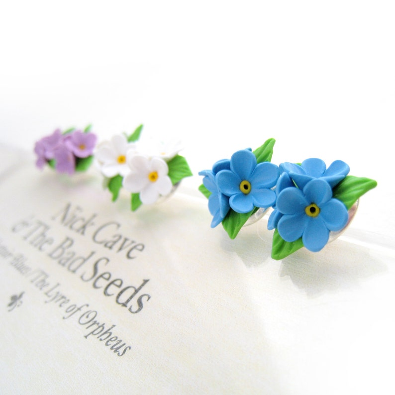 c668c48fa Little forget-me-not flower earrings Ear Studs Floral pinup | Etsy