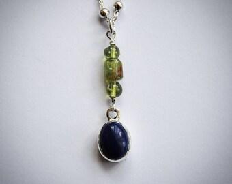Lapis Lazuli and Peridot Pendant