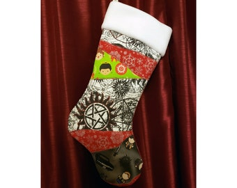 Ready to ship - Supernatural Inspired Christmas Stocking - Crazy Quilt