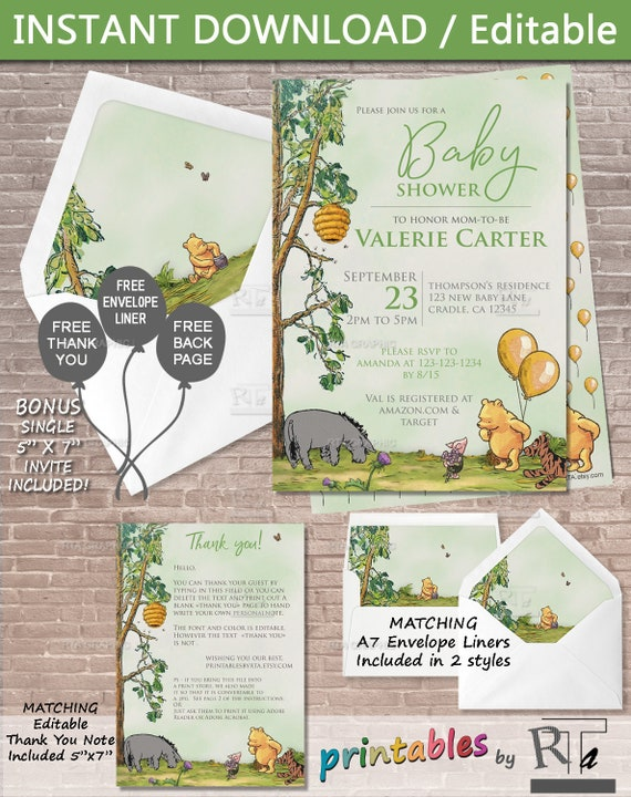Classic Winnie The Pooh Baby Shower Invite Download Editable Etsy