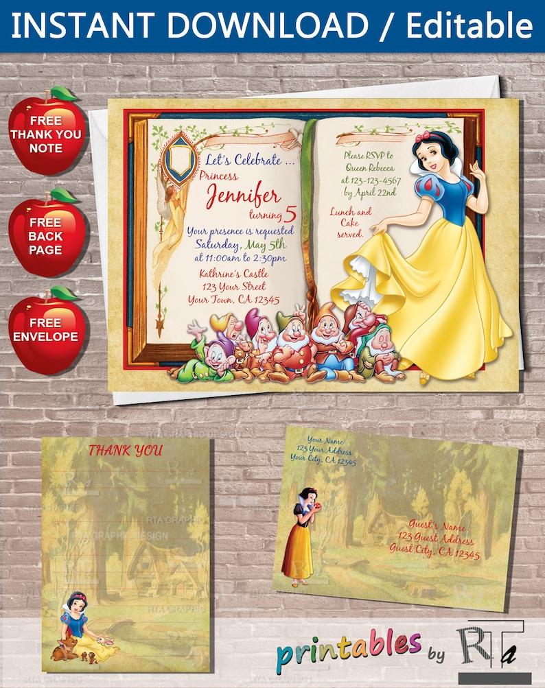 Snow White Invitation Instant Download Editable Etsy