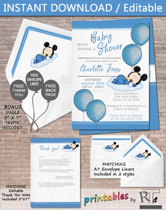It's just a photo of Mickey Mouse Baby Shower Invitations Printable in invitaciones