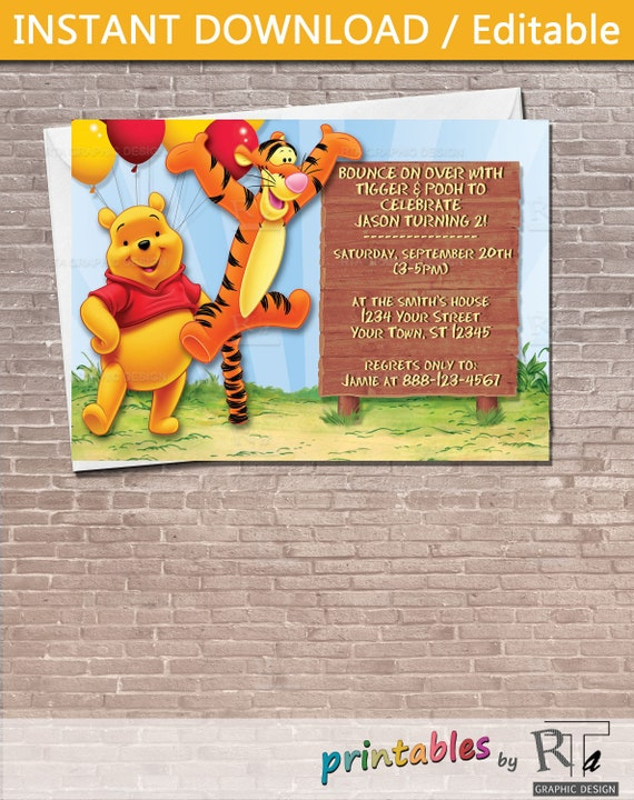 Winnie The Pooh And Tigger Party Invitation Download Editable Etsy