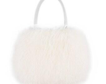 a5eb5ce031b Tibetan Lamb Fur Purse   Tote White