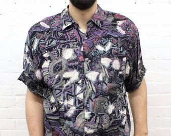 Zero Sum Game... vintage rayon abstract print shirt from the 1980's / 1990's by Code Zero, size large