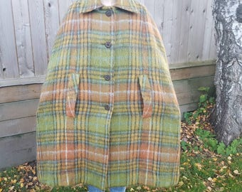 Vtg 60s Mod Mohair & Wool Cape Coat by Glenrannoch Scotland Sage Green and Faded Orange Plaid Pastels fully lined