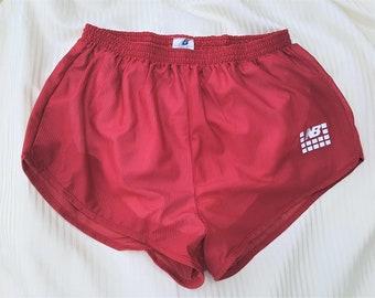 Vintage 80s NEW BALANCE Rose Red Striped Nylon Running Gym Shorts Sheer Deadstock Sz Med Made in Canada / Lined Brief / Velvet Logo Unisex