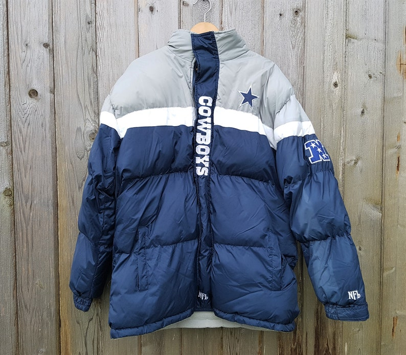 promo code 3a080 2ae57 Vintage Dallas COWBOYS Goose Down Feather Coat Official NFL Football Hooded  Jacket Size XL