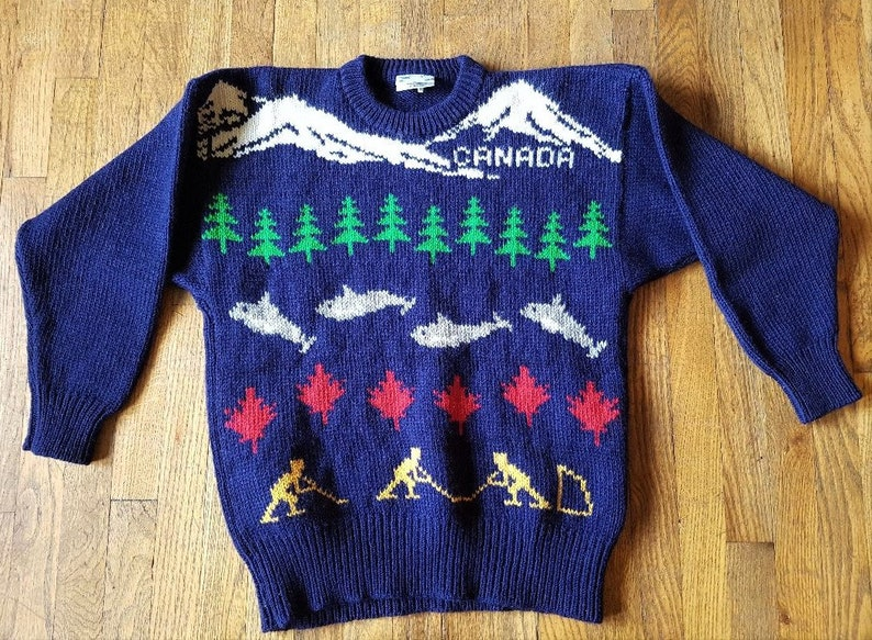 sports shoes c7cb4 b58a2 Vintage 80s Pure Wool Christmas Sweater by Snowy Peak New Zealand - Canada  Trees Hockey Maple Leaf Whales and Ski Mountains Sz 42 / 106 cm L