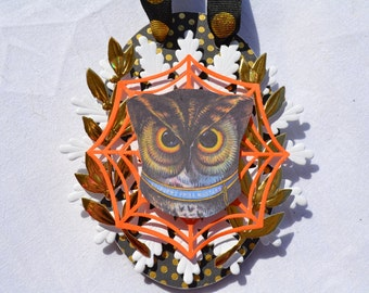 Oval Owl Eyes Halloween Ornament