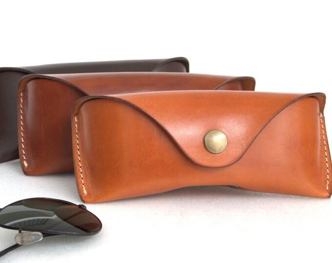 Glasses case vegetable tanned -Bridle leather for Aviator - Wayfarer