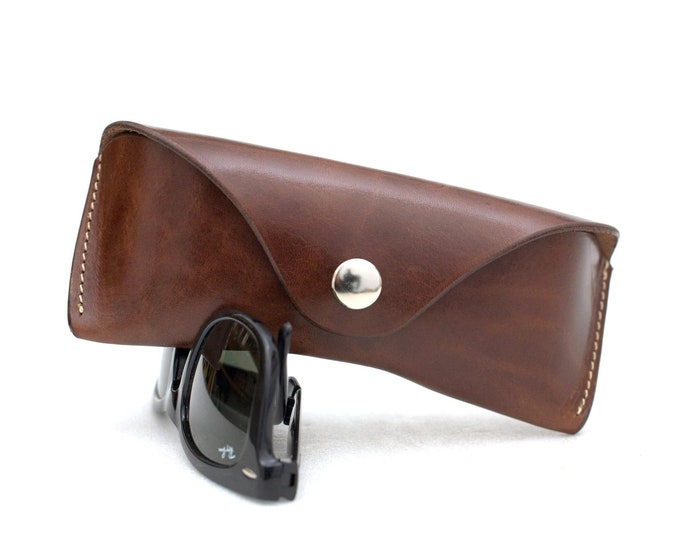 Vegetable tanned Leather glasses Case Tuscany Brown