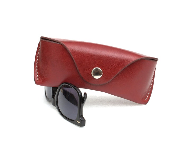 Leather Glasses case vegetable tanned leather Oxblood
