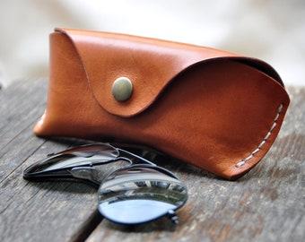 7d4c658a79de Leather Glasses case sunglasses case vegetable tanned leather case w Belt  Loop, eyeglass case, leather glasses case handmade*