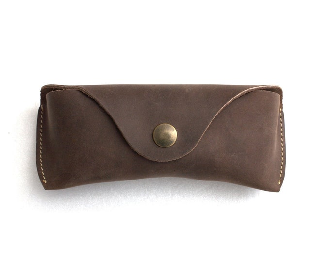Glasses case waxed vegetable tanned leather