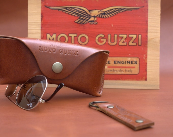 Moto Guzzi leather glasses case with key ring set vintage brown perfect gift