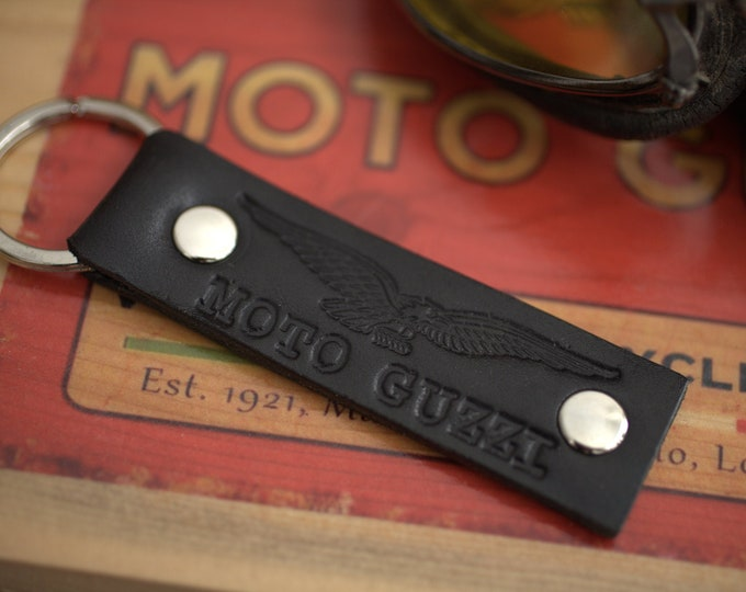 Moto Guzzi embossed logo Leather Key chain fob black Handcrafted by Celyfos®