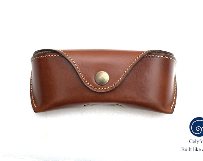 Glasses case English Bridle leather Antique Brown