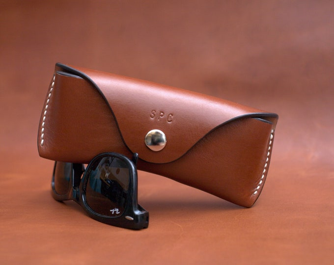 Greek  Bridle leather Glasses case personalized