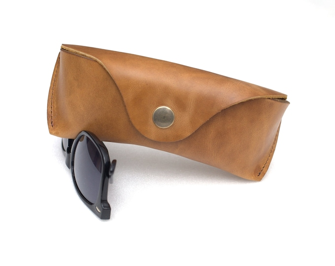Waxed Leather Glasses Case saddle tan