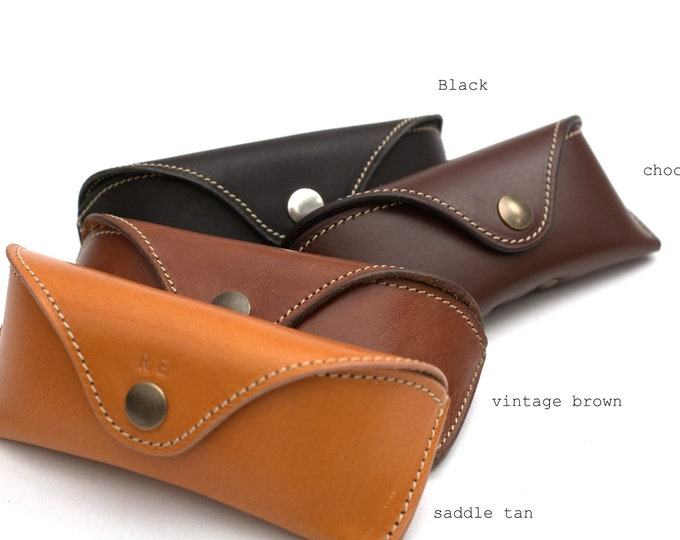 Vegetable tanned Bridle Leather glasses Case