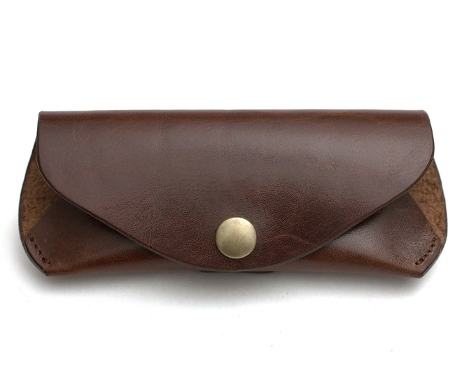 Reading glasses case glasses sunglasses pouch Tuscany brown vegetable tanned leather