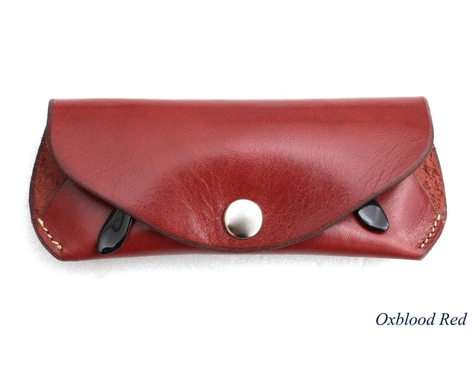 Reading glasses case  Oxblood Red glasses sunglasses pouch vegetable tanned