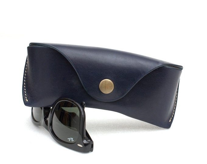 Leather Glasses case vegetable tanned leather Navy Blue