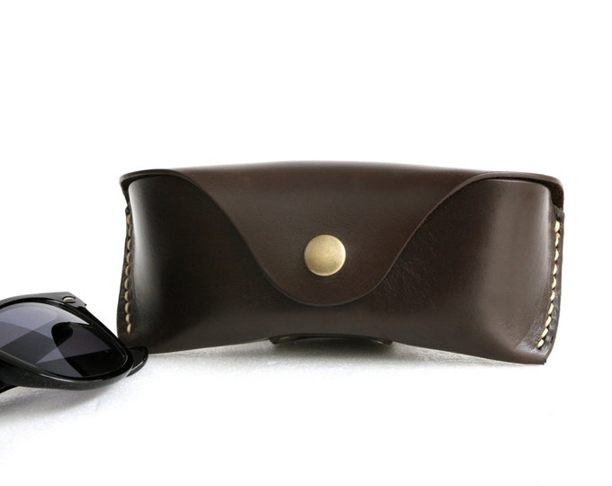 Glasses case vegetable tanned leather Dark brown