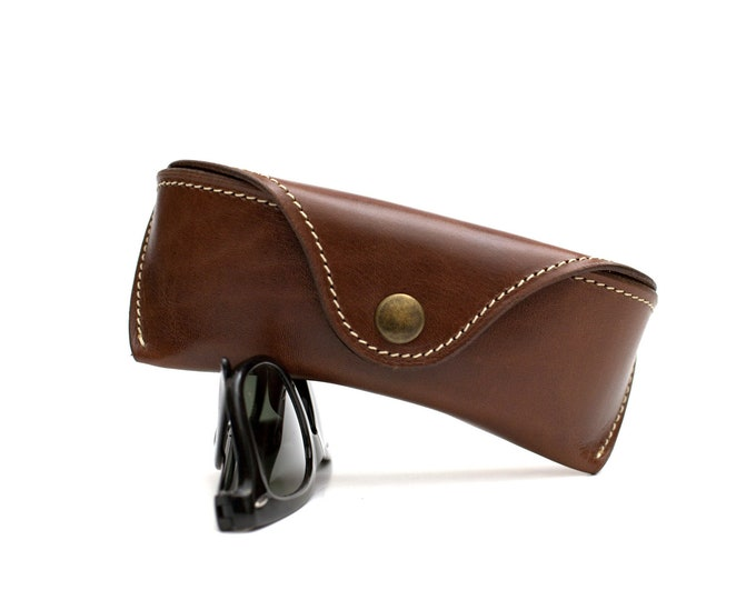 Leather glasses case Tuscany brown
