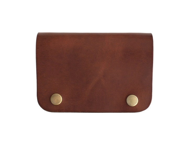 Celyfos ® Leather Wallet Hand made Italian leather brown personalized