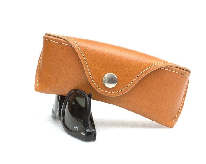 Leather glasses case hard saddle tan