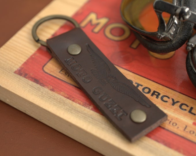 Moto Guzzi embossed logo Leather Key chain fob Espresso Brown Handcrafted by Celyfos®