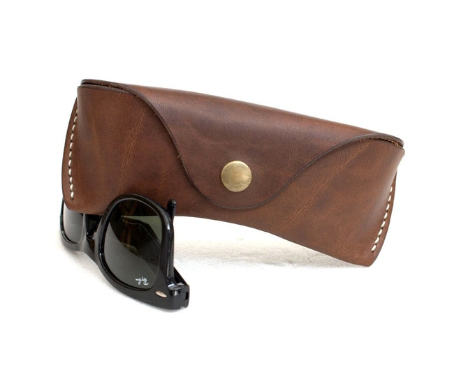 Leather Glasses case vegetable tanned leather espresso