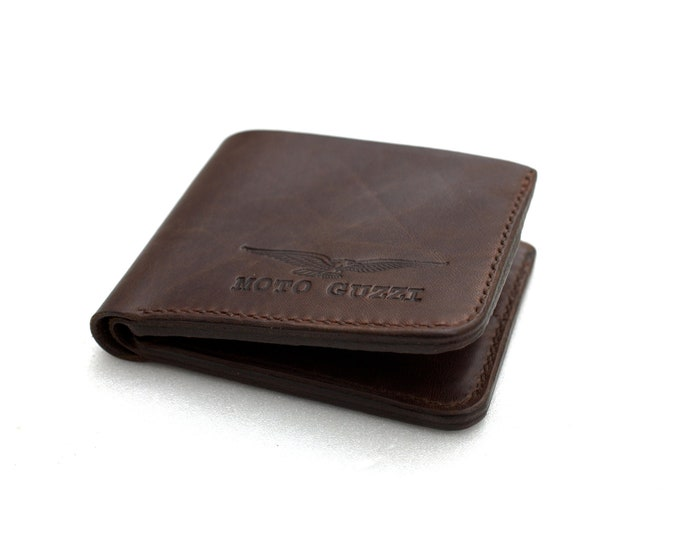 Moto Guzzi Leather Wallet Hand made Italian leather espresso brown Handcrafted by Celyfos®