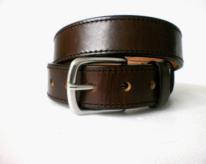 leather gun belt 1.5'' heavy duty casual handmade veg tan steel buckle