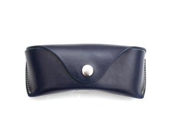 89b2472093b7 Leather Glasses case vegetable tanned leather personalized Navy Blue