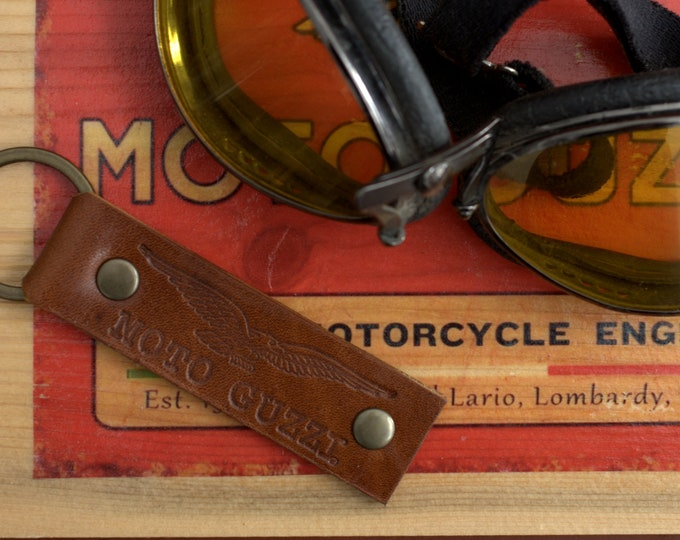 Moto Guzzi embossed logo Leather Key chain fob vintage brown Handcrafted by Celyfos®