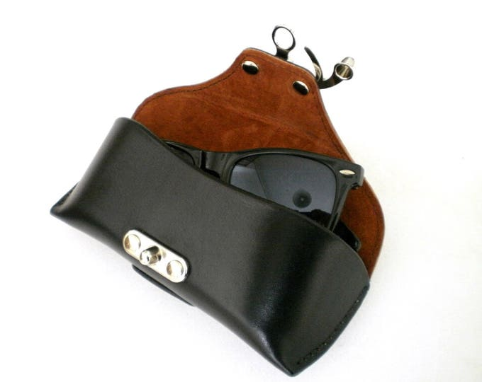 Glasses case Veg tan Leather Black Handcrafted by Celyfos® *