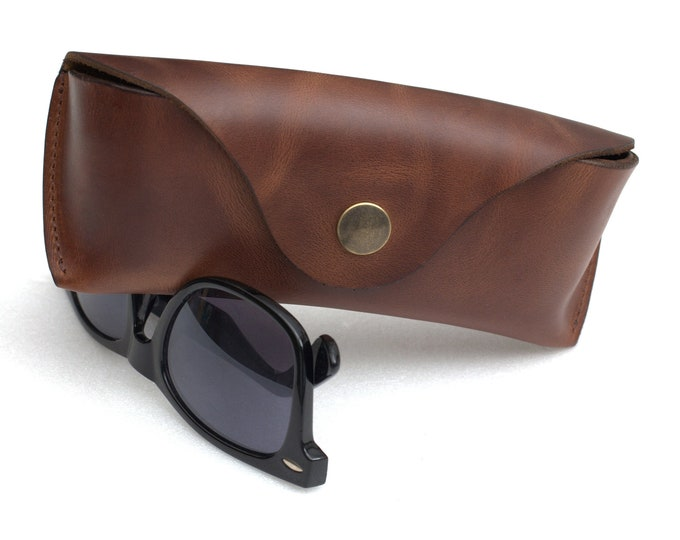 Waxed Leather Sunglasses Case cognac brown